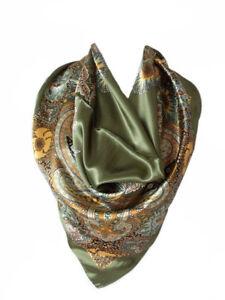Carré Foulard Soie Floral Motif Cachemire Vert Silk séide scarf shawl green NEUF