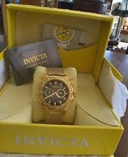 """Invicta 10601 """"Pro Diver"""" 18k Gold Ion-Plated Watch with Mesh and Link Bracelet"""