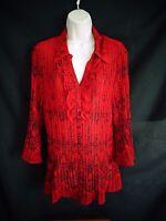 Fashion Bug Red black floral design 3/4 sleeve ruffle shirt women's 18/20 W