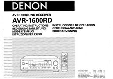 Denon AVR-1600RD Receiver Owners Manual
