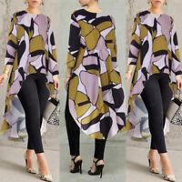 ZANZEA Womens Floral Long Sleeve Casual Loose Tunic Tops Blouse Kaftan Pullover