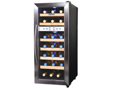 21-Bottle Thermoelectric Wine Cooler Storage Wood Rack Quiet Vibration-Free Led