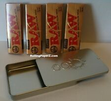 4 PACKS RAW Classic 1 1/4 Rolling Papers + Slide Top Tobacco Storage/Stash Case