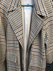 Aquascutum HRM Sumptious English Wool Plaid Long Trench overcoat generous size 8