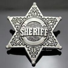 Vintage Silver Western Texas Sheriff Ranger Cop Star Badge Rodeo Belt Buckle