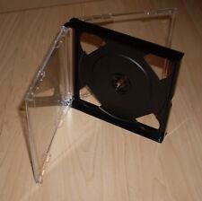 8 Doppel CD Hüllen durchsichtig schwarz 2 CDs DVDs 2fach 24 mm 2,4 cm breit Neu