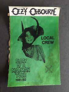 VTG 1981 Ozzy Osbourne Diary Of A Madman Tour Satin Cloth Backstage Pass Patch
