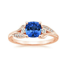 14K Solid Rose Gold 1.65 Ct Natural Diamond Blue Sapphire Engagement Ring Size J