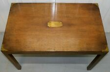 VINTAGE MAHOGANY & BRASS MILITARY CAMPAING COFFEE TABLE