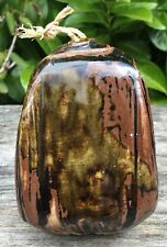 Valerie Lee Studio Pottery Tenmoku Glaze Japanese Influence Lidded Pot 3.5""