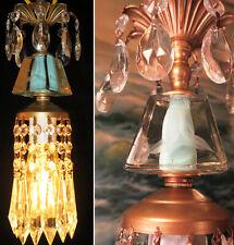 1o5 Deco insp Vintage SWAG Blue aqua Brass hanging lamp chandelier crystal prism