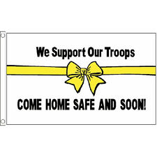 We Support Our Troops (White) Flag 5Ft X 3Ft Military Army Banner With 2 Eyelets