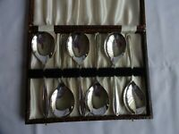 VINTAGE SILVER PLATED EPNS DESSERT SPOONS X 6 LENGTH 14 cm BOXED