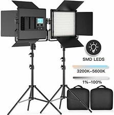 FOSITAN LED Video Light 2-Pack 3960 Lux Dimmable Photography Lighting Kit Stand