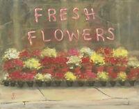 """FRESH FLOWERS"" Debra Sepos original oil 8"" x 10"" storefront florist cityscape"