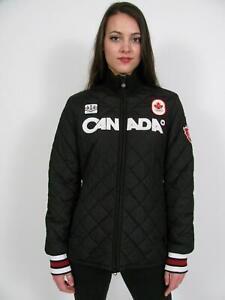 HBC HUDSONS BAY 2010 TEAM CANADA OLYMPIC BLACK QUILTED PODIUM JACKET COAT~L