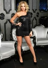 Sexy Dress, Sequin Dress, Black One Shoulder Dress, Leg Avenue Dress Sz S