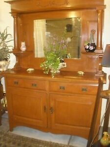 VINTAGE LARGE MIRROR SIDEBOARD Old Painted Finish