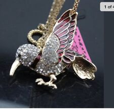 Betsey Johnson Necklace Red Humming Bird  Gold Crystals