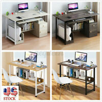 Wood Computer Desk Writing PC Laptop Table Workstation Study Shelf Home Office