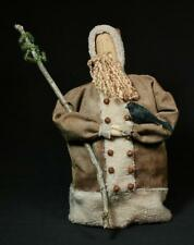 Hand-Crafted Primitive Rustic Folk-Art Shearing Santa With Tree And Crow