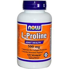 NOW FOODS L-PROLINE - 500mg x 120 VEG CAPS - COLLAGEN & JOINT HEALTH SUPPORT