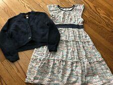 Girl's TEA COLLECTION Twirl Dress + Navy Blue Cardigan Sweater Set - Size 8-10