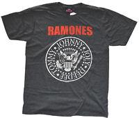 Ramones Logo Charcoal Heather Men's T-Shirt New