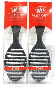 2 Ct Wet Brush Flex Dry Professional Pro Holiday Silver Glitter Flexible Brush