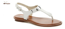 Michael Kors MK Plate Optic White w Silver Leather Sandal Women's sizes 5-11/NEW