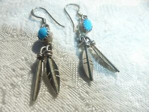 Native American Sterling Silver Dangle Feather design Blue Turquoise Earrings