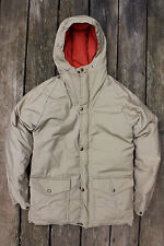 Vintage 70s Class 5 High Adventure Goose Down Hooded Parka Small USA Beige Coat