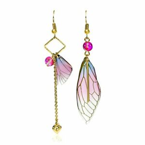 Handmade Fairy Simulation Wing Insect Butterfly Rhinestone Drop Earrings Jewelry