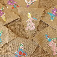 Easter Rabbit Jute Hessian Bunting Patchwork Cotton Bunnies Garland Decoration
