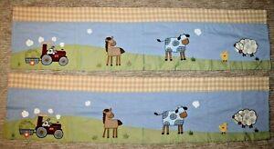 Set of 2 KIDS LINE Farm Barn Yard Valance Curtains Horse Cow Duck Sheep 56 x 14
