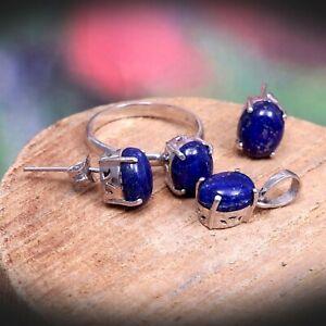 Lapis Lazuli Ring Earrings Pendant Dainty Simple Jewelry Set 925 Sterling Silver