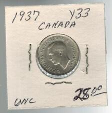 1937 Canada 5 Cents Y 33 Silver Coin