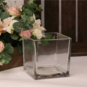 GLASS DESIGNER CUBES/TANKS FLOWER VASE HOME OR WEDDING CENTER PIECE FLORISTRY