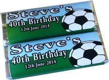 Personalised Wrappers Chocolate Bars Birthday Favours x 12 FOOTBALL DESIGN