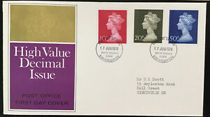 Reduced GB QEII 1970 High Value Definitives POFDC Bureau HS Typed Address W/I