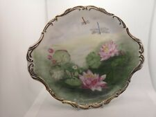 More details for antique beautiful display plate handpainted signed smh lilies & dragonflies