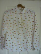 THE SAVILE ROW COMPANY WHITE MUSTARD BUTTERFLY SHIRT UK 16, EUR 42, US 12 BNWT