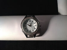 XOXO Crystal Silver Tone Round Face Wrist Watch No Band 1.5 by 1.25 inches