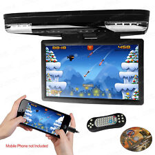 "15.6"" FHD Car DVD Player Roof Mounted Monitor Flip Down Video HDMI/FM/IR/Black"