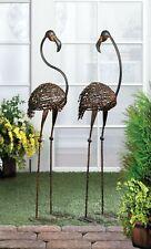 "Yard Garden Decor Cast Iron Pair Of Flamingos 42"" High"