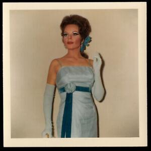 SPOOKY STUNNING SEXY GODDESS WOMAN FROZEN in BLUE DRESS ~ 1967 VINTAGE PHOTO