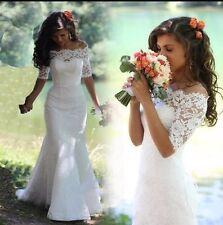 UK 2016 Plus Size White/Ivory Half Sleeve Wedding Dress Bridal Gown Size 6-20