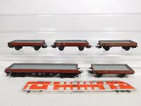 CO952-0,5# 5x Märklin H0/AC Niederbordwagen DB: 4503/305 + 4514/496 391