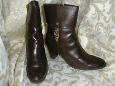 ETIENNE AIGNER BROWN MAN MADE LEATHR ANKLE PANTS BIKER BOOTS 8 M STYLE:  KINDRED