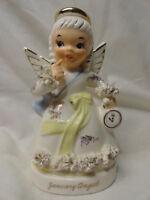 vintage napco january birthday holiday angel new year's day clock figurine rare